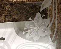 Etched & Leaded Glass Hibiscus Flower Etched in Tub Enclosure