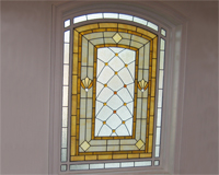 Etched & Leaded Glass Stained Glass with Amber Jewels