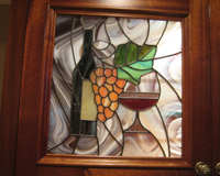 Etched & Leaded Glass Kitchen Cabinet