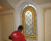 Etched & Leaded Glass Leaded Glass Installed Over Existing Glass