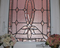 Etched & Leaded Glass Stained Glass in Powder Room