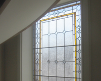 Leaded Glass in Multiple Level Hallways