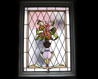 Etched & Leaded Glass Flowers in Urn